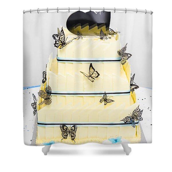 Yellow Wedding Cake Made Of White Chocolate Shower Curtain