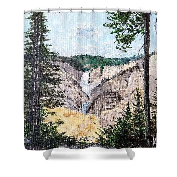 Shower Curtain featuring the painting Yellowstone Falls by Kevin Daly