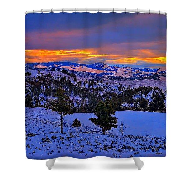 Yellowstone Winter Morning Shower Curtain