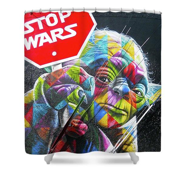Yoda - Stop Wars Shower Curtain