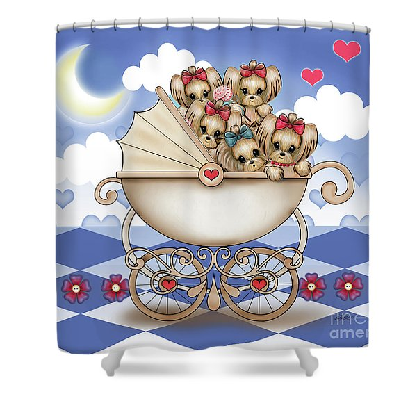 Yorkie Babies Strolling  Shower Curtain