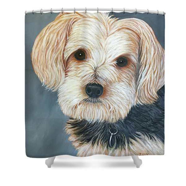 Yorkie Portrait Shower Curtain