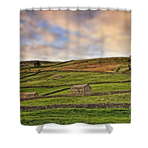 Yorkshire Dales Stone Barns And Walls Shower Curtain