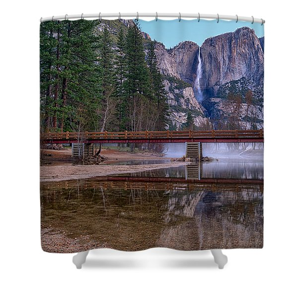 Yosemite Falls At The Swinging Bridge Shower Curtain