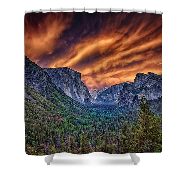 Yosemite Fire Shower Curtain