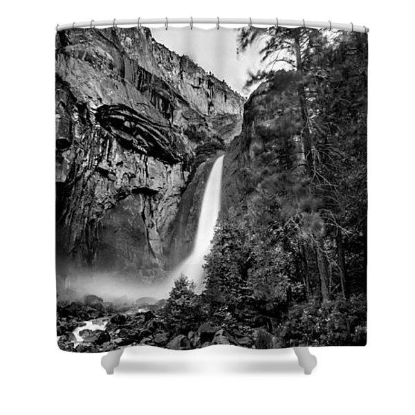 Yosemite Waterfall Bw Shower Curtain