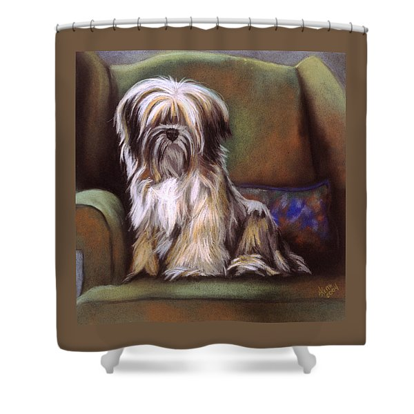Shower Curtain featuring the pastel You Are In My Spot Again by Barbara Keith