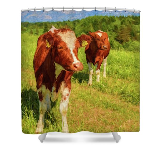 Young Cows Shower Curtain
