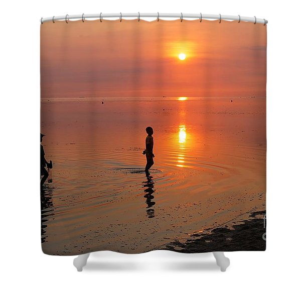 Young Fishermen At Sunset Shower Curtain