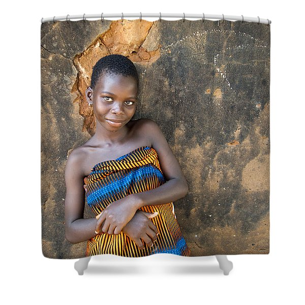 Young Girl In A Togo Village  Shower Curtain