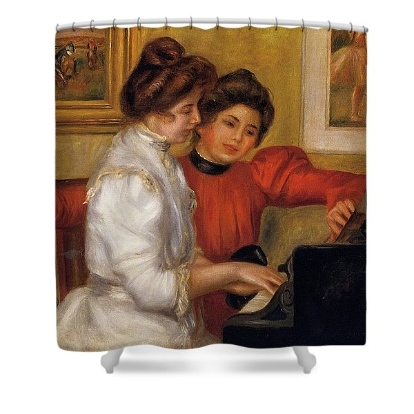 Young Girls At The Piano - 1892 Pierre-auguste Renoir Shower Curtain