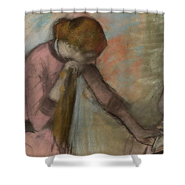 Young Girls Looking At An Album Shower Curtain