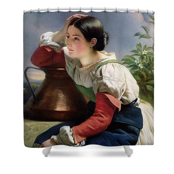 Young Italian At The Well Shower Curtain