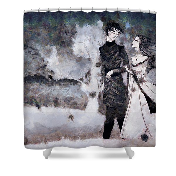 Young Love On A Stroll Shower Curtain