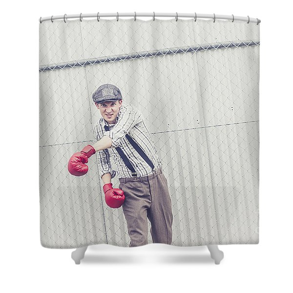 Young Male Boxer Throwing A Offensive Jab Shower Curtain
