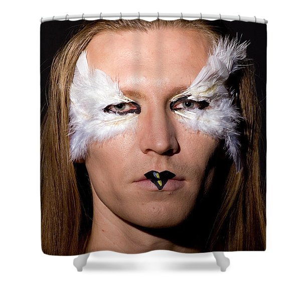 Young Male Model With Make Up Mask Shower Curtain