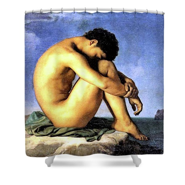 Young Man By The Sea Shower Curtain