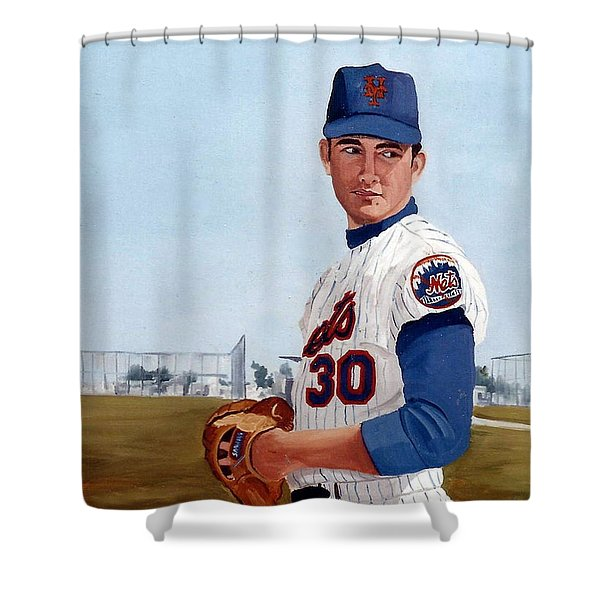 Shower Curtain featuring the painting Young Nolan Ryan - With Mets by Rosario Piazza