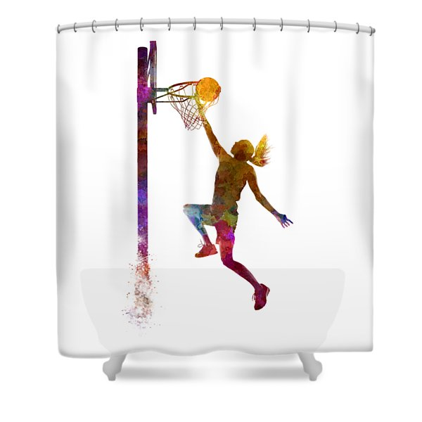 Young Woman Basketball Player 04 In Watercolor Shower Curtain