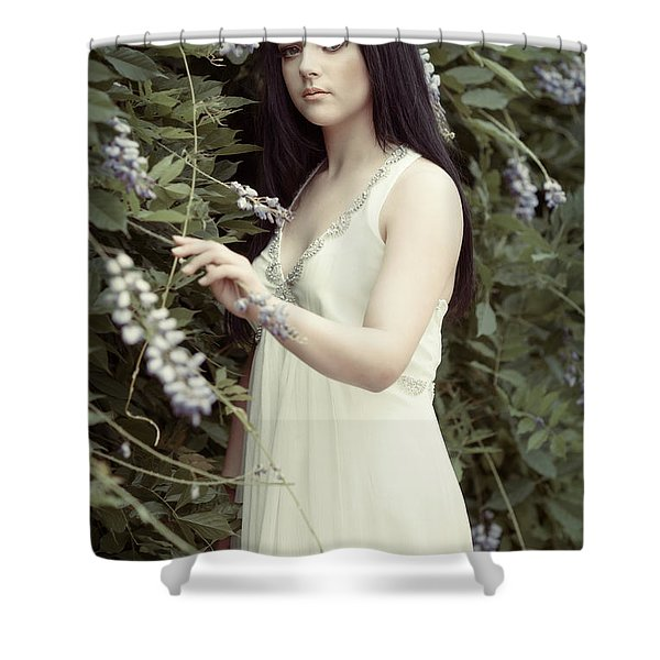 Young Woman In Flowing Dress Shower Curtain