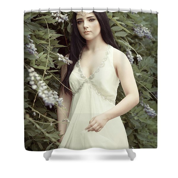 Young Woman Outdoors Shower Curtain