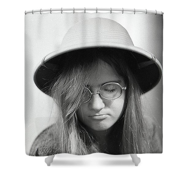 Young Woman With Long Hair, Wearing A Pith Helmet, 1972 Shower Curtain