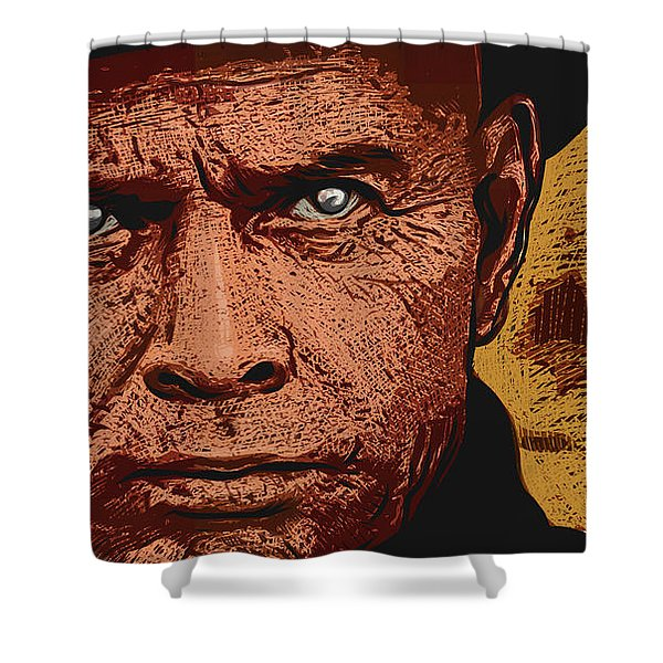 Shower Curtain featuring the digital art Yul Brynner by Antonio Romero