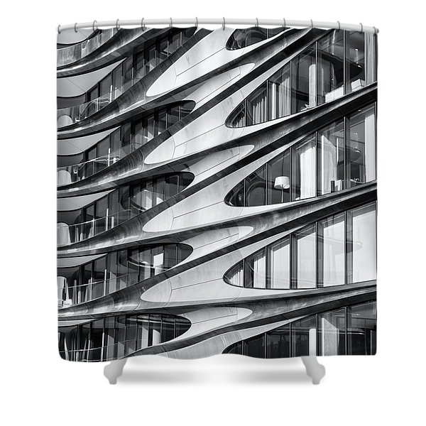 Shower Curtain featuring the photograph zaha hadid Architecture in NYC by Michael Hope