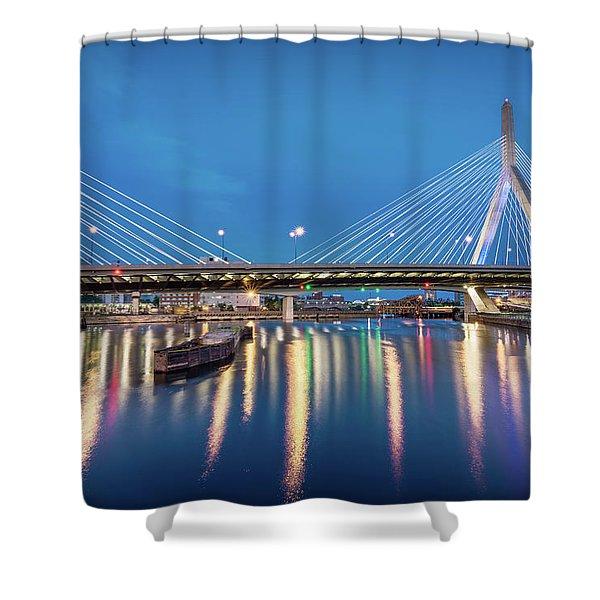 Zakim Bridge And Charles River At Dawn Shower Curtain
