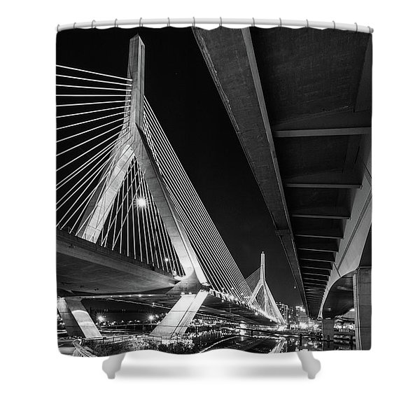 Zakim Bridge From Under The Leverett Connector Bridge Shower Curtain