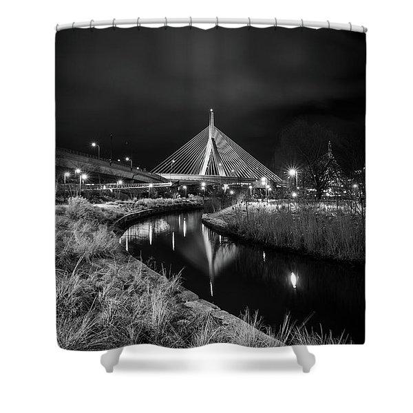 Zakim Bridge Reflecting Under A Moody Sky Shower Curtain