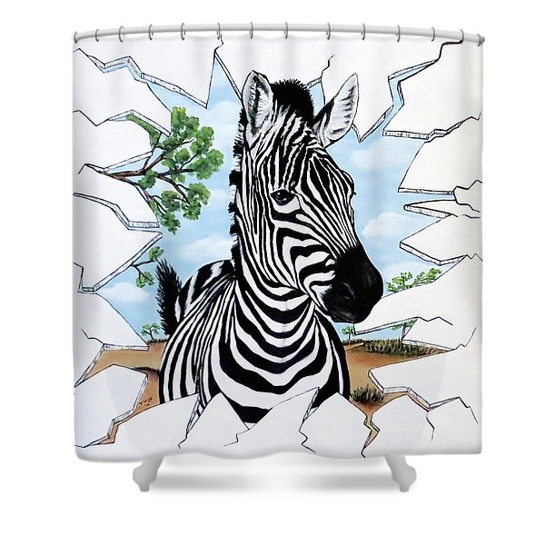 Zany Zebra Shower Curtain