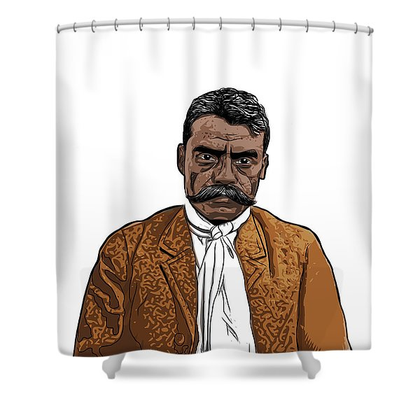 Shower Curtain featuring the digital art Zapata by Antonio Romero