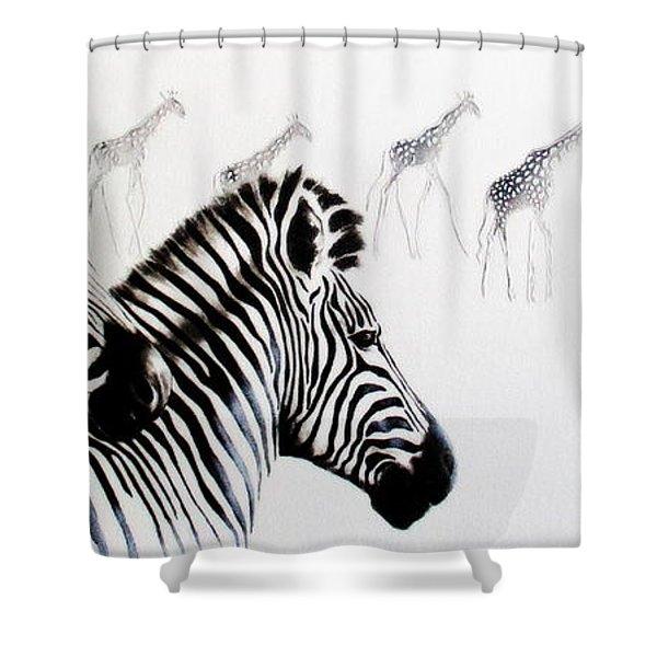 Zebra And Giraffe Shower Curtain