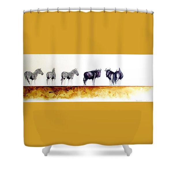 Zebra And Wildebeest Shower Curtain