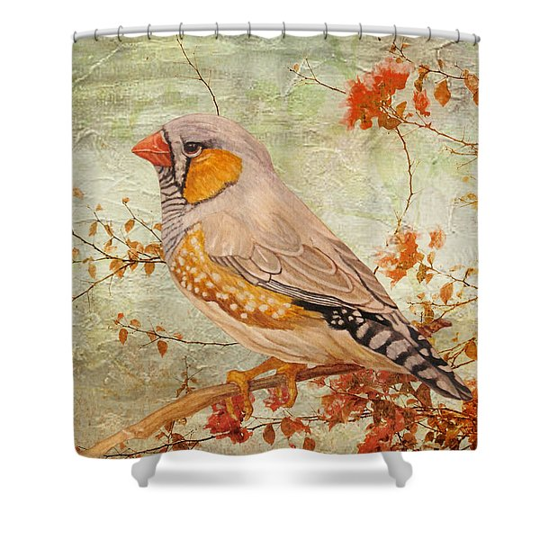 Zebra Finch Among Almond Trees Shower Curtain