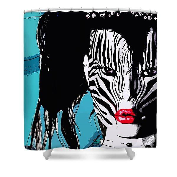 Zebra Girl Pop Art Shower Curtain