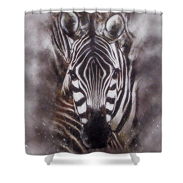 Zebra Splash Shower Curtain