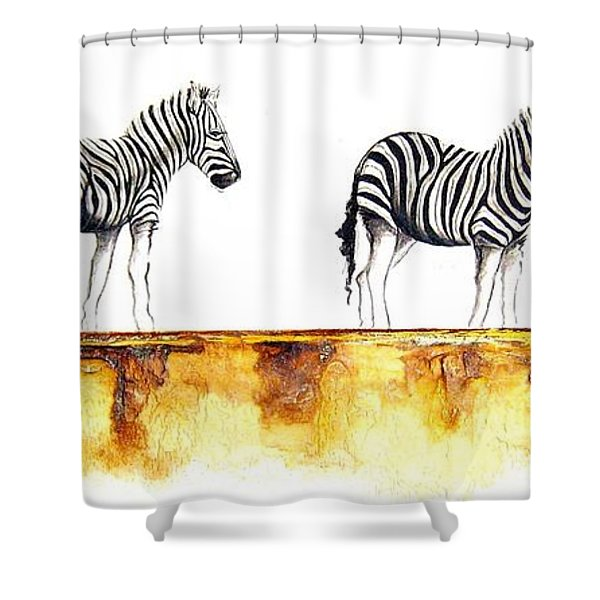 Zebra Trio - Original Artwork Shower Curtain