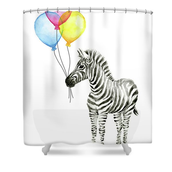 Zebra Watercolor With Balloons Shower Curtain