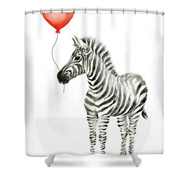 Zebra With Red Balloon Whimsical Baby Animals Shower Curtain