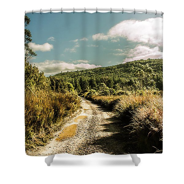 Zeehan Dirt Road Landscape Shower Curtain