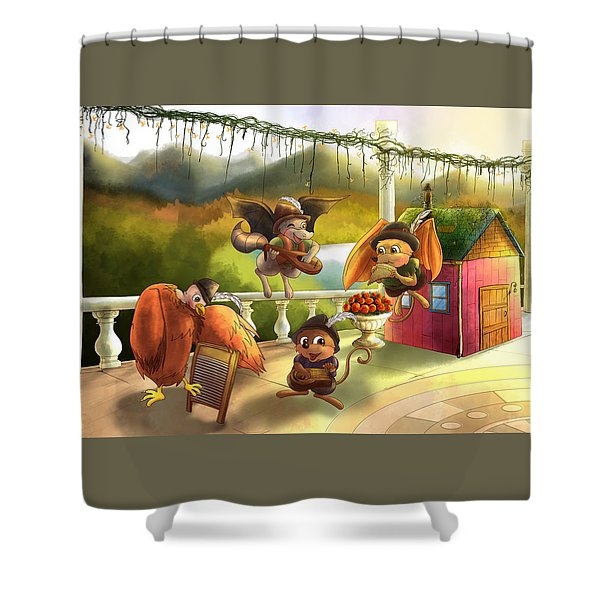Zeke Cedric Alfred And Polly Shower Curtain
