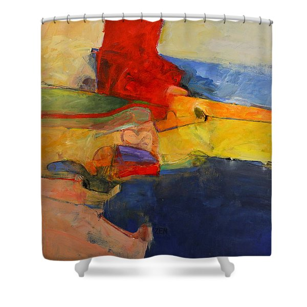 Shower Curtain featuring the painting Zen Harbor by Cliff Spohn