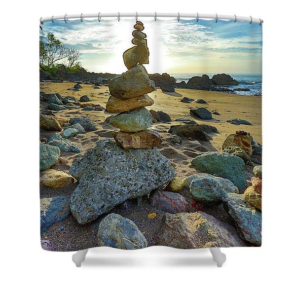 Zen Rock Balance Shower Curtain