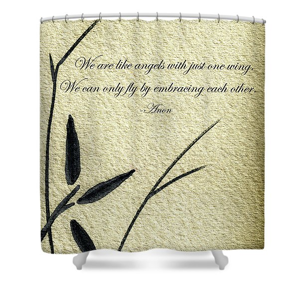 Zen Sumi 4d Antique Motivational Flower Ink On Watercolor Paper By Ricardos Shower Curtain