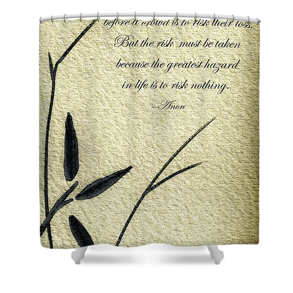 Zen Sumi 4n Antique Motivational Flower Ink On Watercolor Paper By Ricardos Shower Curtain