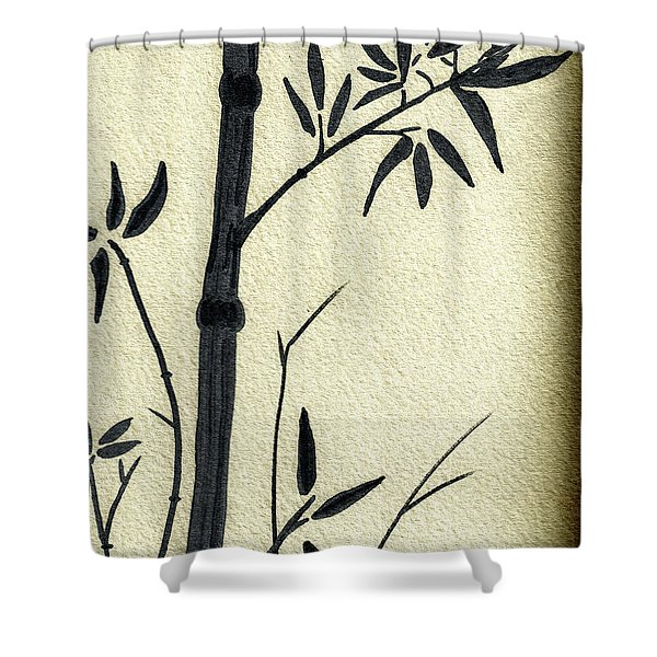 Zen Sumi Antique Bamboo 1a Black Ink On Fine Art Watercolor Paper By Ricardos Shower Curtain