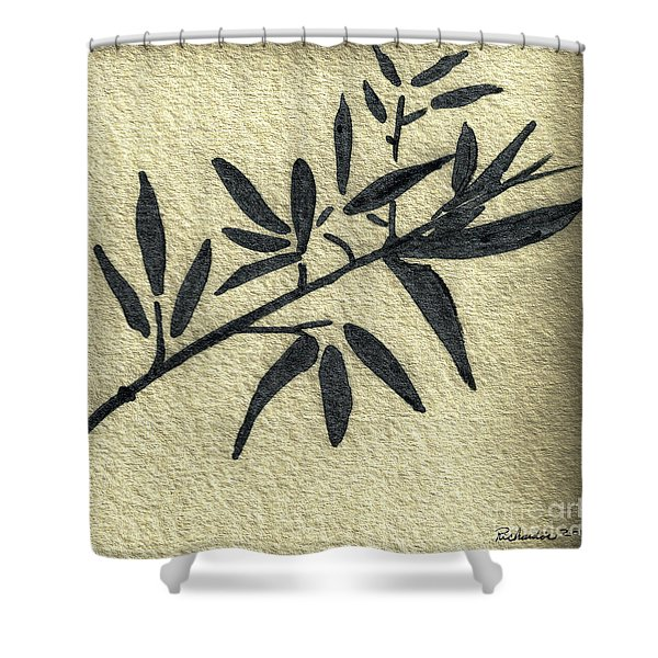 Zen Sumi Antique Botanical 4a Ink On Fine Art Watercolor Paper By Ricardos Shower Curtain