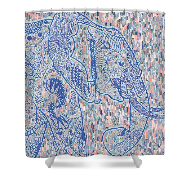Zentangle Elephant-oil Shower Curtain